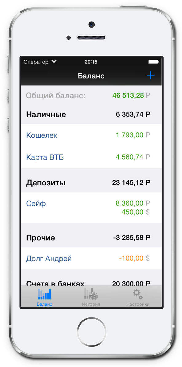 HomeMoney - домашняя бухгалтерия для iPhone